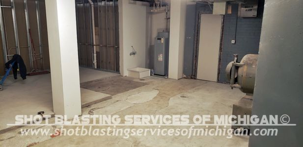 Shot Blasting Services Michigan Grey Epoxy Commercial Basement Floor 03 2020 01 03
