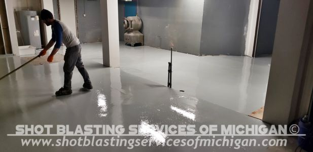 Shot Blasting Services Michigan Grey Epoxy Commercial Basement Floor 03 2020 01 07